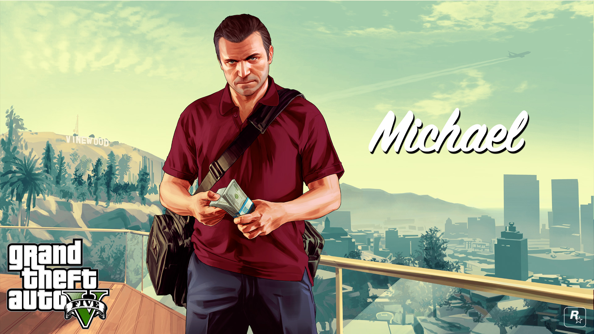 Gta 5 Michael_with_money_1920x1080 Wallpaper